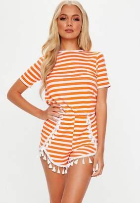 Missguided Orange Striped Jersey Pompom Trim Playsuit