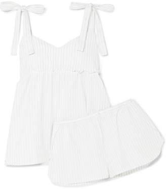 Three J NYC Jackie Metallic Striped Cotton-flannel Pajama Set - White