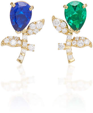Anabela Chan M'O Exclusive 18K Gold Emerald And Sapphire Tulip Stud Earrings