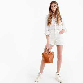 J.Crew High rise denim short in white with button fly