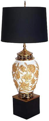 One Kings Lane Vintage Brass & Gilded Glass Urn Lamp