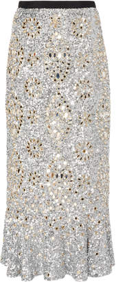 Saloni Aidan Sequined Silk-Chiffon Maxi Skirt Size: 2