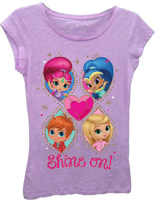 Asstd National Brand Shimmer and Shine Girls' Love Ya! Short Sleeve Graphic T-Shirt with Gold Glitter
