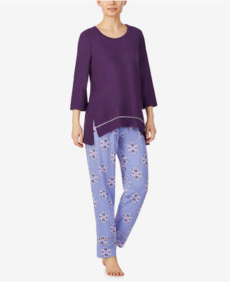 Ellen Tracy Solid Top and Boho Geo Print Pant Pajama Set, Online Only