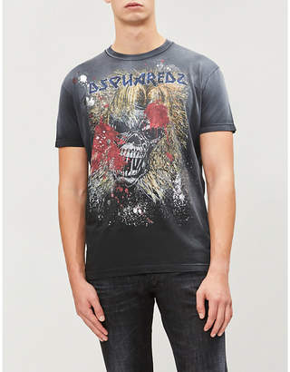 DSQUARED2 Rock skull and logo-print cotton-jersey T-shirt