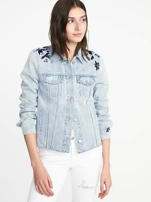 Old Navy Floral-Embroidered Denim Jacket for Women