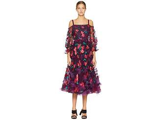 Marchesa Cold Shoulder Floral Tea Length Gown