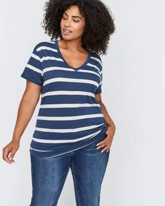 Addition Elle L&L Striped Boyfriend T-Shirt