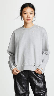 Alexander Wang Dry French Terry Distressed Sweatshirt