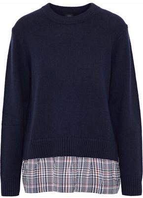 Joseph Checked Silk-Paneled Wool And Cashmere-Blend Sweater