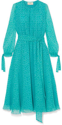 ARoss Girl x Soler - Amanda Printed Silk-georgette Midi Dress - Blue