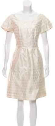 Lela Rose Short Sleeve Polka-Dot Dress Rose Short Sleeve Polka-Dot Dress