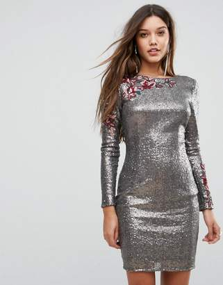 Little Mistress Allover Sequin Bodycon Dress With Floral Lace Applique