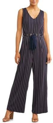 Wrapper Women's Vertical Stripe Tie Waist Jumpsuit