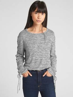Gap Softspun Stripe Lace-Up Long Sleeve Top