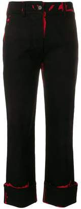 Prada graphic print turn up trousers