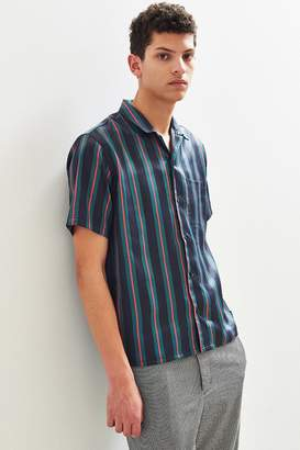 Urban Outfitters Liam Satin Short Sleeve Button-Down Shirt