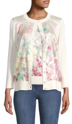 St. John Mixed Media Floral Print Cardigan