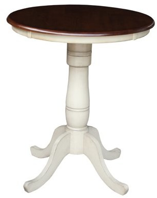 """INC International Concepts 30"""" Round Top Pedestal Counter Height Table, 34.9""""H in Antiqued Almond/Espresso"""