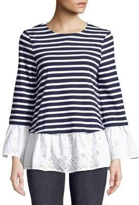 Beach Lunch Lounge Bell-Sleeve Eyelets and Stripes Top