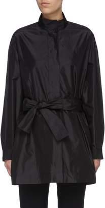 The Row 'Big Varo' belted oversized silk tunic shirt