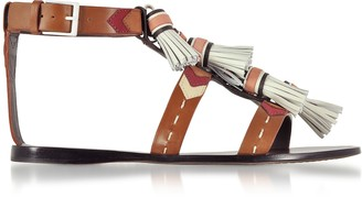 Tory Burch Weaver Multi Tan and Light Almond Leather Flat Sandals w/Tassels