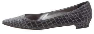 Manolo Blahnik Metallic Pointed-Toe Flats