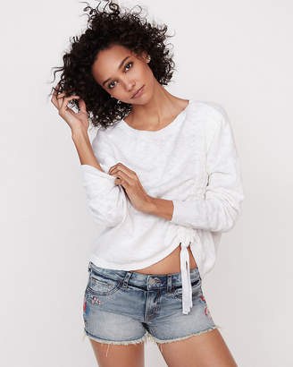 Express Asymmetrical Ruched Pullover Sweater
