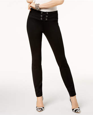 INC International Concepts I.n.c. Lace-Up Skinny Pants, Created for Macy's