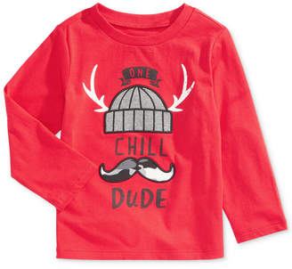 First Impressions Toddler Boys Dude-Print Cotton T-Shirt