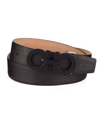 Salvatore Ferragamo Men's Textured Leather Gancini Belt