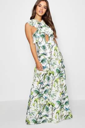 boohoo Petite Cross Front Tropical Print Maxi Dress