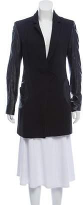 Versus Leather-Trimmed Knee-Length Coat