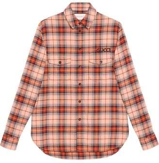 Gucci Check cotton shirt with Paramount logo