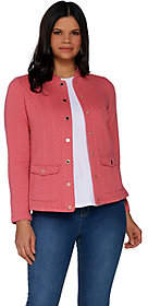 Isaac Mizrahi Live! Button Front Double KnitField Jacket