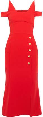 Rebecca Vallance - Beltrán Cold-shoulder Stretch-crepe Midi Dress - Red $510 thestylecure.com