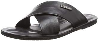 Dune Men's Izzard Flip Flops Black Leather, 44 EU