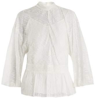 Muveil Peplum-hem floral-embroidered silk blouse