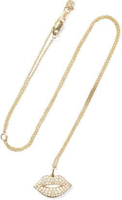 Sydney Evan Lips Medium 14-karat Gold Diamond Necklace