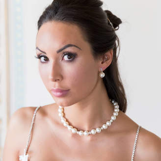 Crystal Pearl Chez Bec Jackie O Large Bridal Necklace