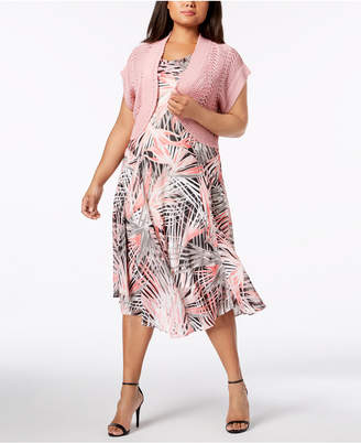 Robbie Bee Plus Size Printed A-Line Dress & Shrug