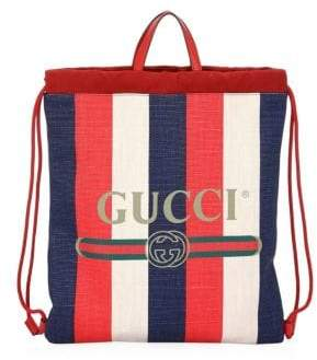 Gucci Sylvie Logo Print Drawstring Backpack