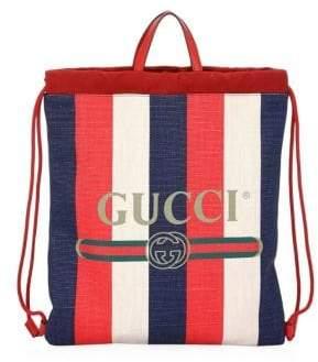Gucci Sylvie Logo Print Drawstring Backpack