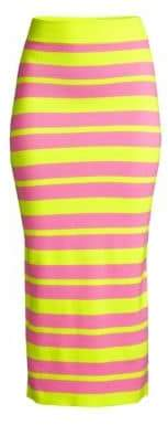 Victor Glemaud Striped Wool Knit Midi Skirt
