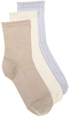HUE Hosiery Scallop Crew Socks - 3 Pack - Women's