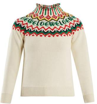 Loewe - Logo Fair Isle Knit Sweater - Womens - White Multi