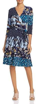 Leota Mixed Print Faux-Wrap Dress