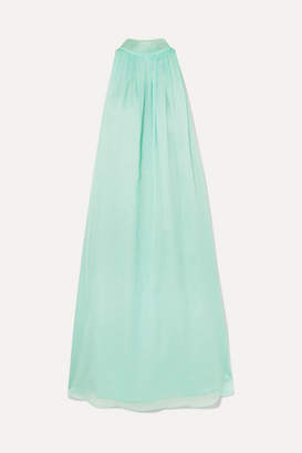 Rotate by Birger Christensen Plissé-chiffon Halterneck Midi Dress - Mint