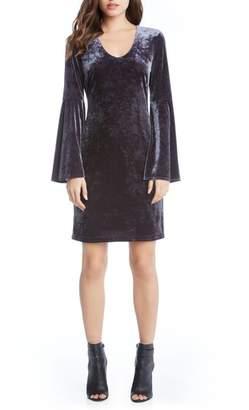 Karen Kane Velvet Bell Sleeve Sheath Dress