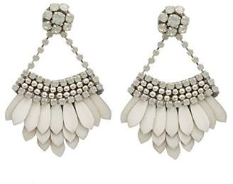 Deepa Gurnani White Enamelled Brass Feather Statement Earrings
